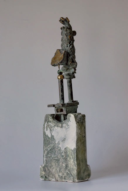 stylite - bronze on alabaster, 48x14x11cm - 1995 - 1000eur