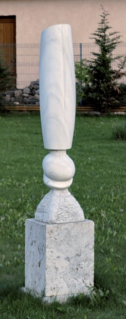 white seed - marble of moneasa, travertin, 182x43x40cm - 1998 - 4000eur